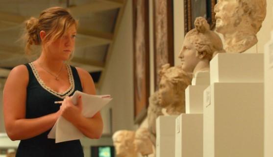 Classics student in museum